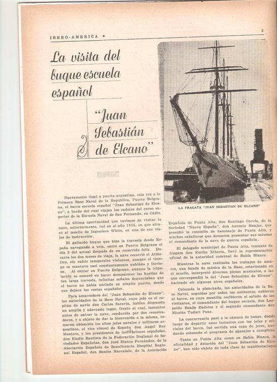 19441009 arribo buque juan sebastian de Elcano a puerto belgrano